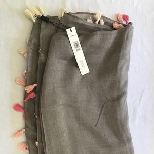 Tahari Taupe Scarf with pink tassels